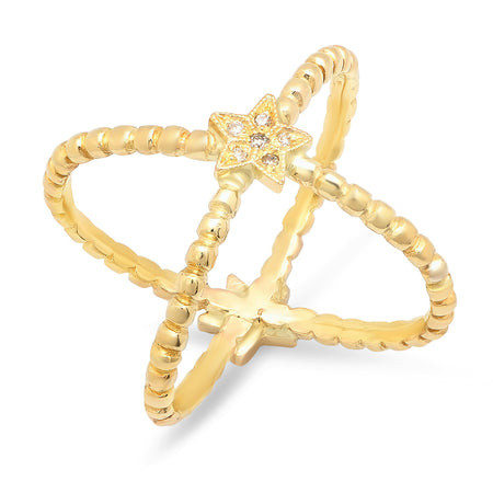 Mini Half Moon & Star Twisted Gold Ring