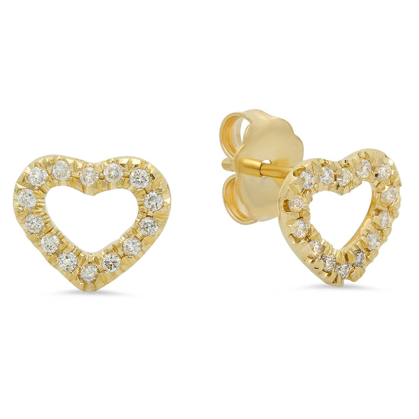 Mini Open Heart Diamond Stud Earrings