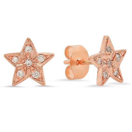 Mini Half Moon & Star Diamond Stud Earrings