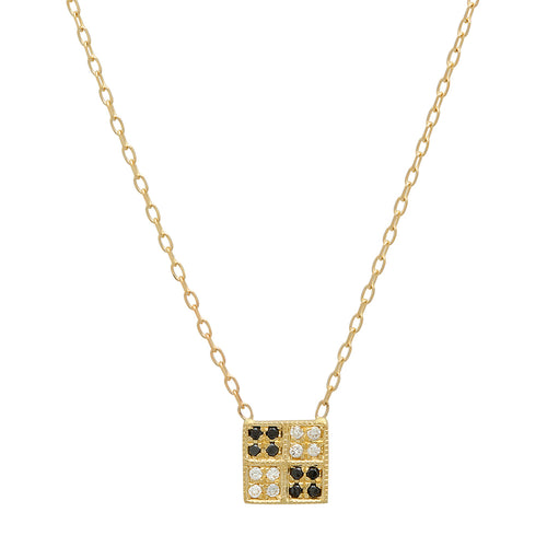 Mini Square Mixed Diamond Necklace