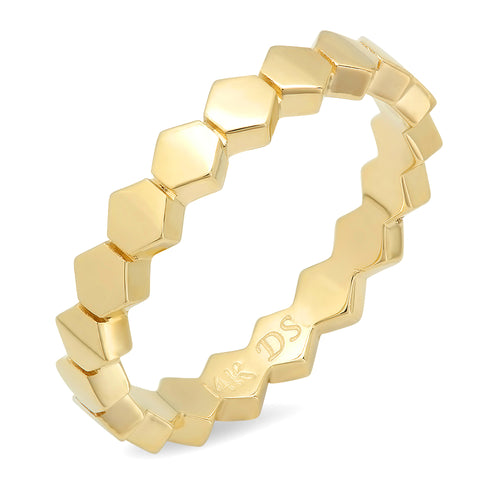 Mini Hexagonal Eternity Stacked Ring