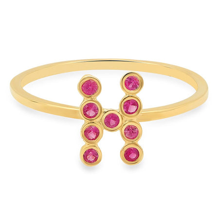 Mini Star Birthstone Chain Ring