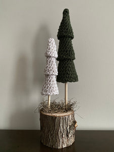 Double tree (2 trees, one base) (dark green, taupe)