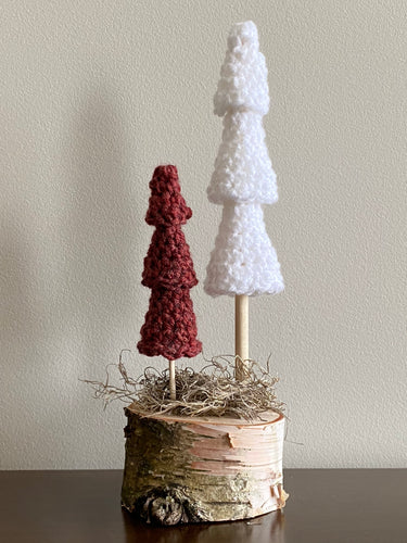 Double Tree (2 trees, one base) (white, rustic red)