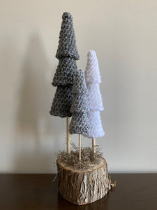 Triple tree (3 trees, one base) (dark grey, medium grey, white)