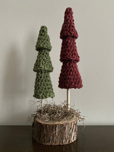 Double tree (2 trees, one base) (rustic red, light green)