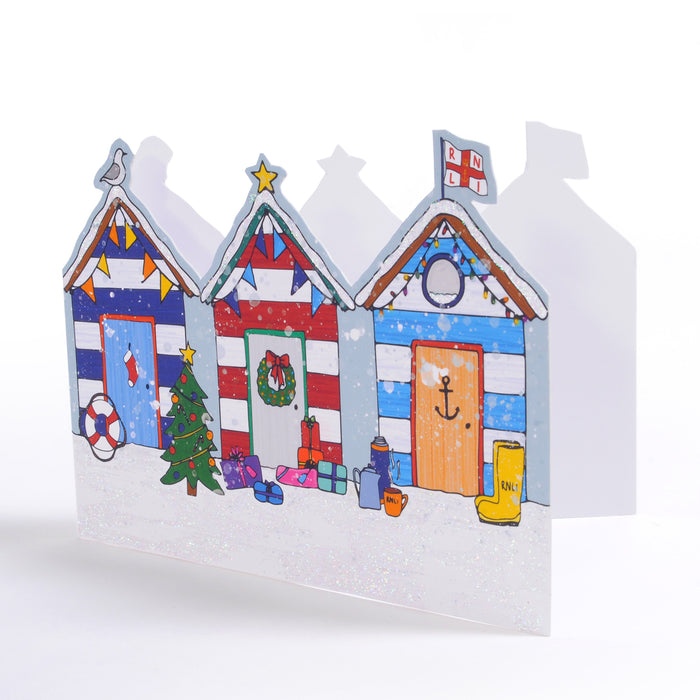 Beach Huts, Pack of 10 Christmas Cards