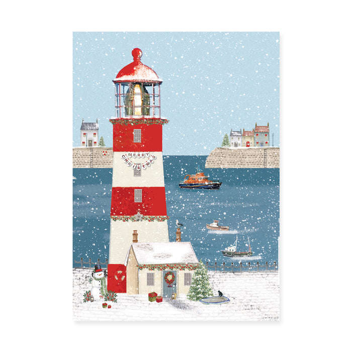 Christmas Lighthouse, Pack of 8 Bi-lingual Welsh/English Christmas Cards
