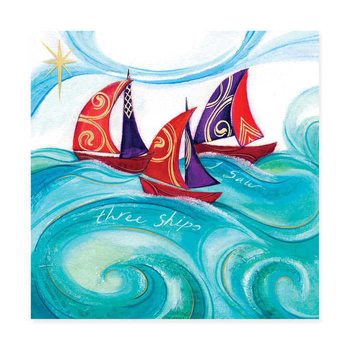 I Saw Three Ships, Pack of 10 Bi-lingual Welsh/English Christmas Cards