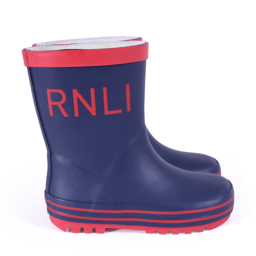 Kids Navy and Red Wellies