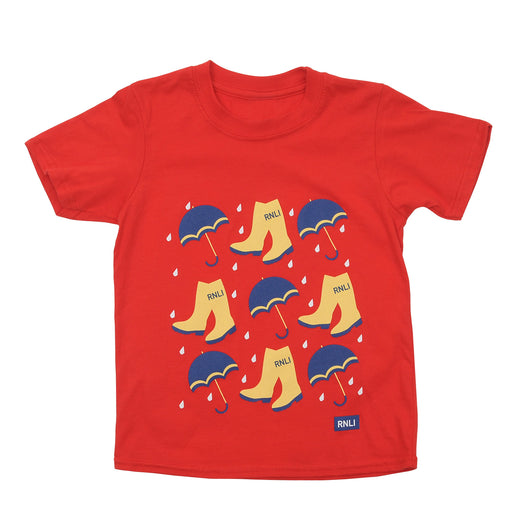 Kids Yellow Welly T-Shirt Red