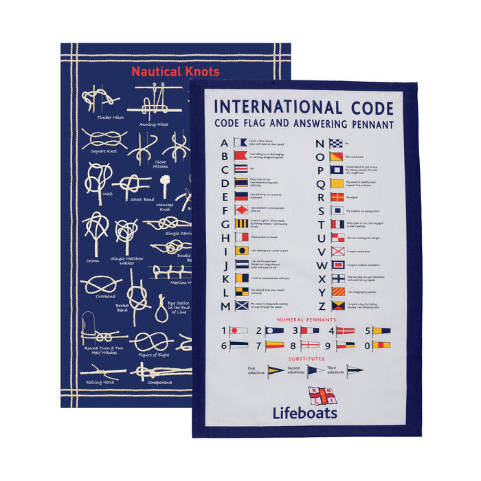 Nautical Statistics Tea Towel Set, Pack of 2