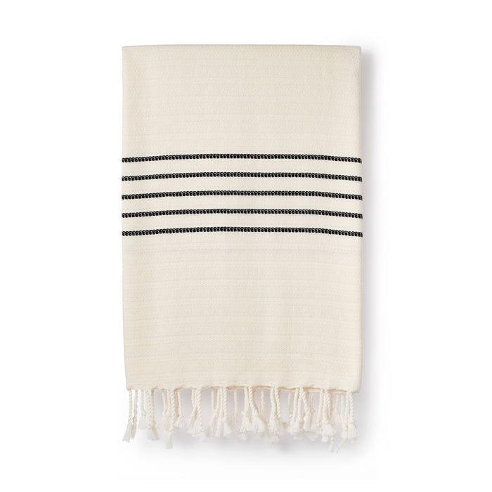 Organic Cotton & Bamboo Peshtemal Natural With Stripe