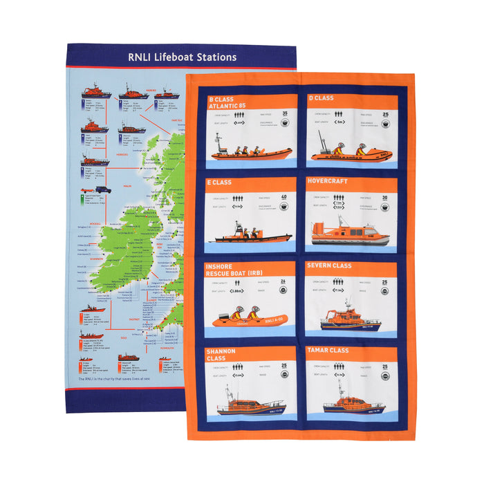 Rescue and Lifeboat Statistics Tea Towel Set, Pack of 2