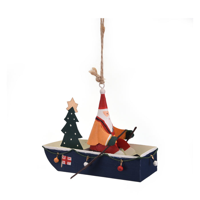 Santa Rowing Boat Decoration