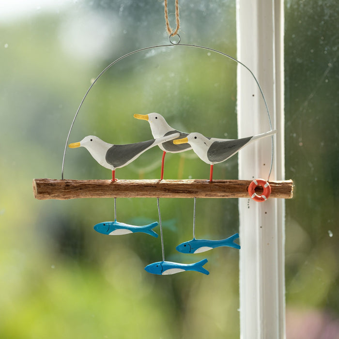 Seagulls On A Perch Hanging Decoration