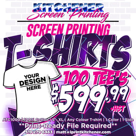 100 T-Shirts Printed for $599.99