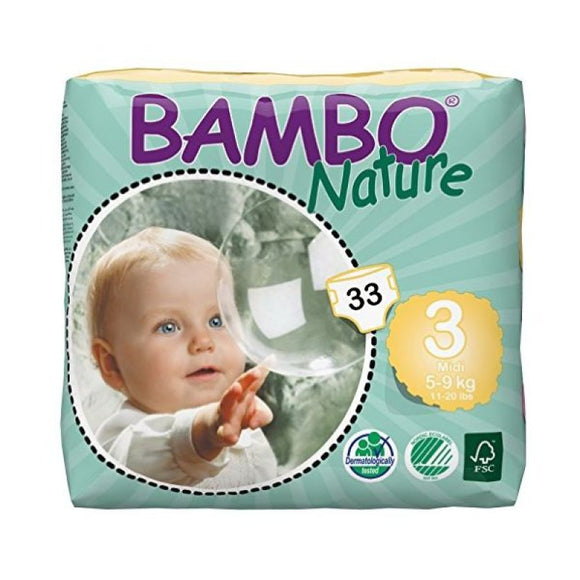 Bambo Nature Nappies - Size 3 / Midi, 5-9kg (11-20lb)