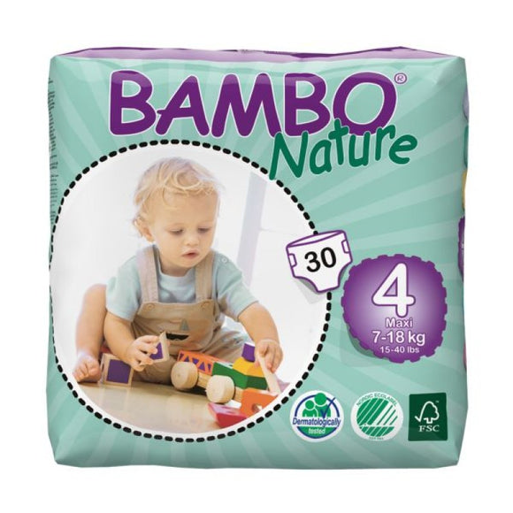 Bambo Nature Nappies - Size 4 / Maxi, 7-18kg (15-40lb)