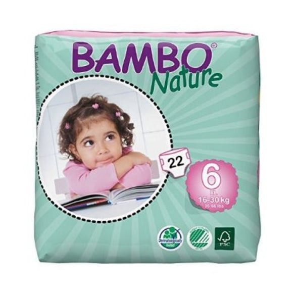 Bambo Nature Nappies - Size 6 / XL, 16-30kg (35-66lb)