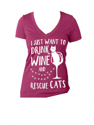 Drink Wine & Rescue Cats Tee