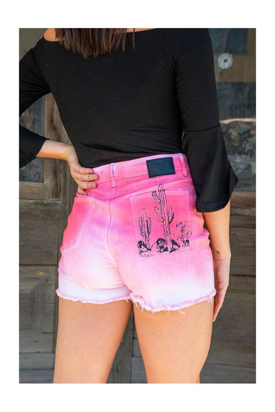 #036 Pink ombré cactus denim shorts