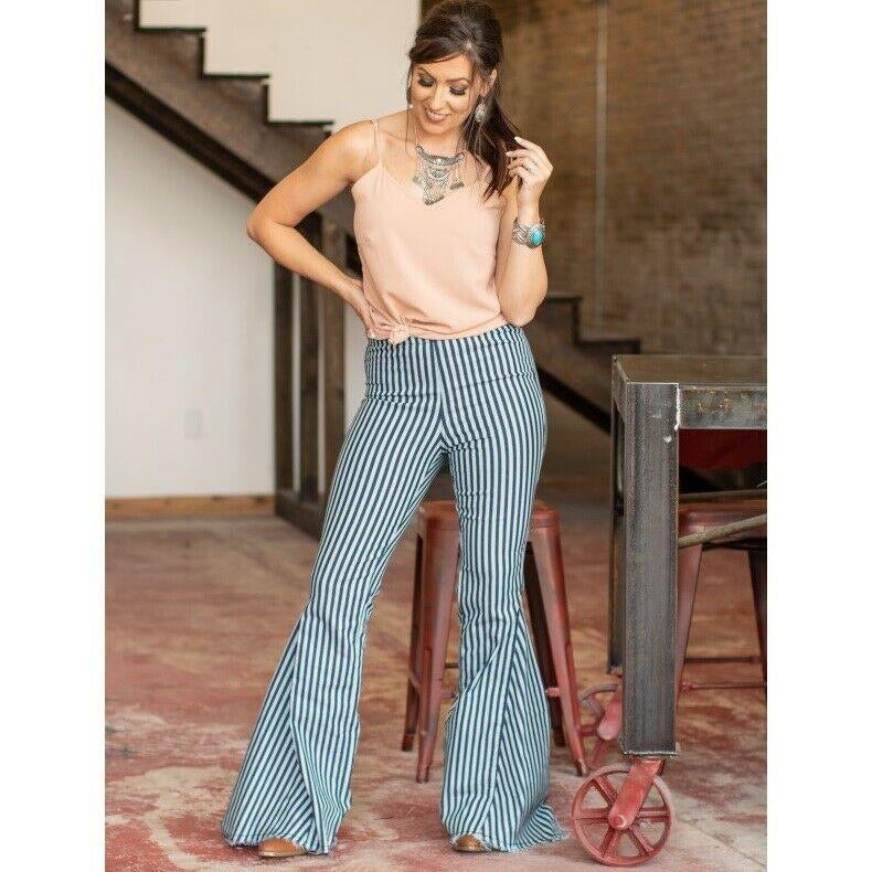 L&B Striped High Waisted Bell Bottom Jeans