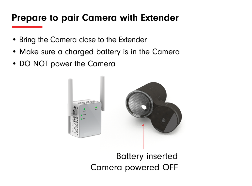 Prepare to Pair Extender with Camera