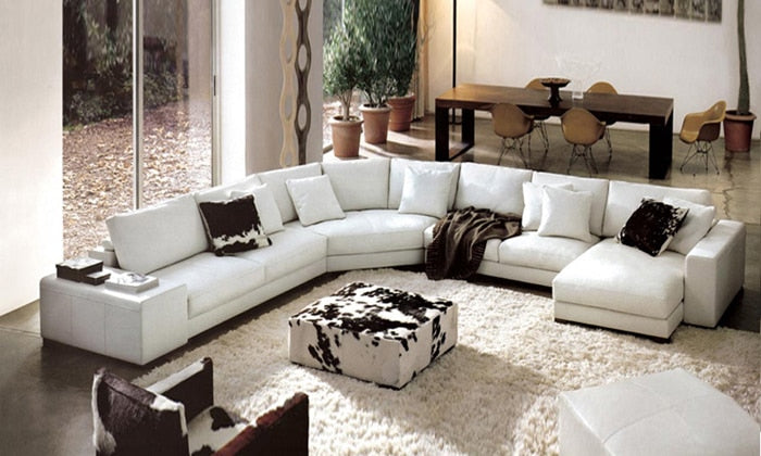 Latest Modern Design Sofa Large L Shaped Genuine Leather Couches Corner  modern Sofa set living room furniture Sofa L9049