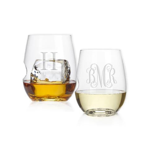 monogram stemless wine glasses engraved