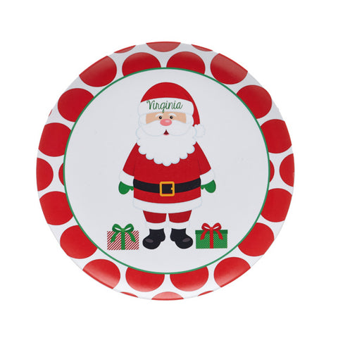 Santa Claus Melamine Plate Personalized with Name