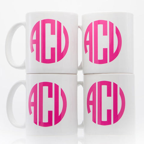 Set of 4 Pink Monogrammed Mugs