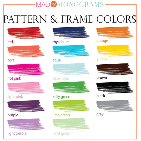 Monogram Pattern Color Choice Chart