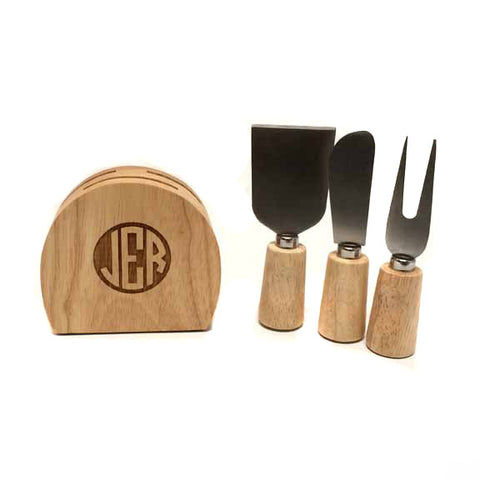 Monogrammed Cheese Block with Utensils
