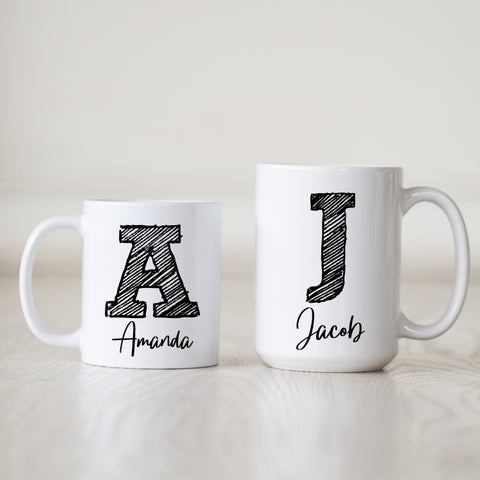 Personalized Scribble Initial Mug