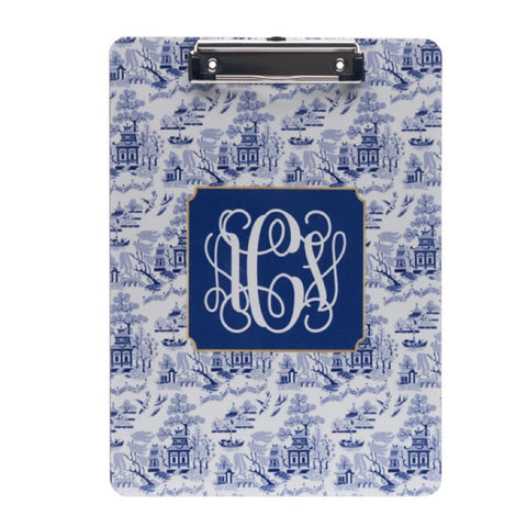 Monogrammed Chinoiserie Clipboard