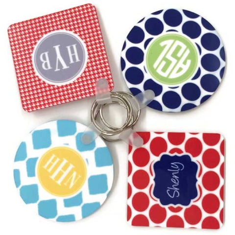 4 colorful monogram keychains