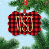 Personalized Buffalo Plaid Tree Ornament