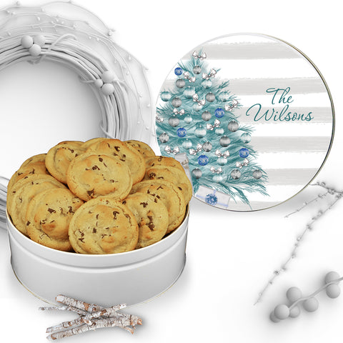 Christmas Teal Tree Cookie Tin