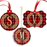 Personalized Initial Buffalo Plaid Tree Ornament