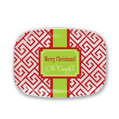Red & Green Personalized Christmas Platter
