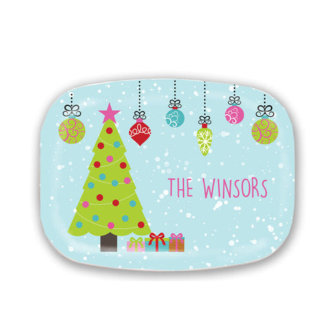 Personalized Colorful Christmas Serving Platter