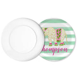 Personalized Watercolor Elephant Plate