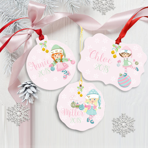 Pink Christmas Girl Elf Ornament