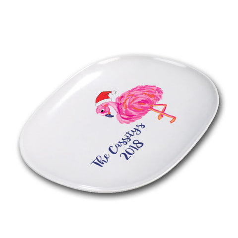 Personalized Christmas Flamingo Platter