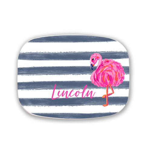 Personalized Melamine Flamingo Stripe Platter