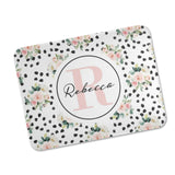 Personalized Floral Dots Baby Blanket