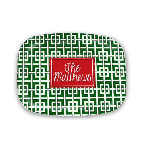 Green and red family name Christmas Platter