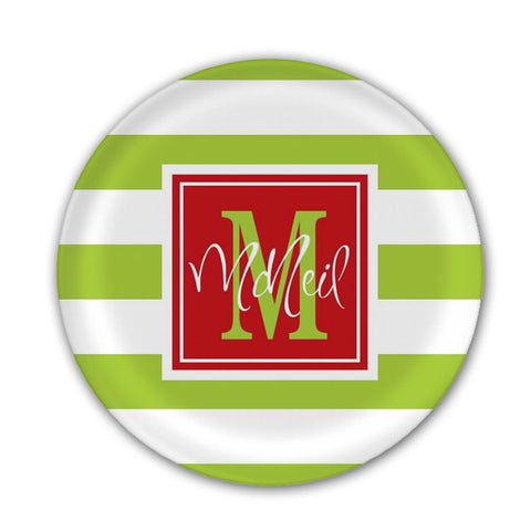 Personalized Lime Green Striped Christmas Plate