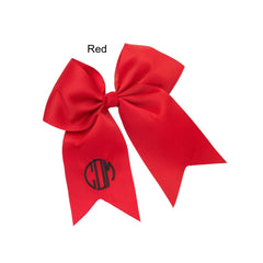 monogram hair bow red